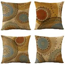 WOMHOPE Set of 4 Vintage Geometric Decorative Throw Pillow Covers Pillow Cases Cushion Cases 18 x 18 Inch for Living Room,Couch and Bed (Circle)