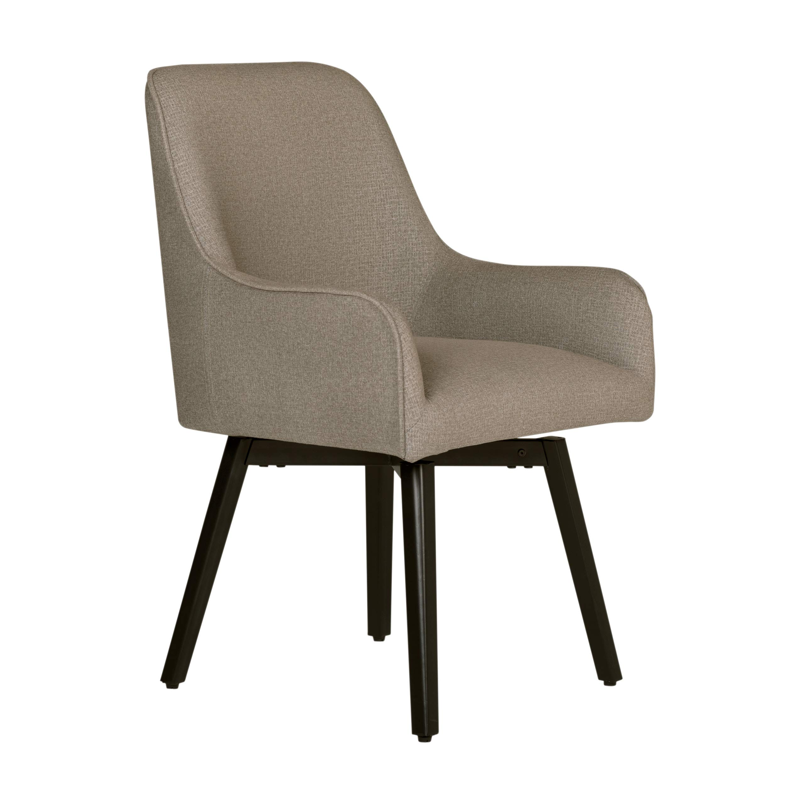 Studio Designs Home Contemporary Spire Luxe Swivel, Rotating, Upholstered, Accent Dining/Office Chair with Arms and Metal Legs in Camel Beige