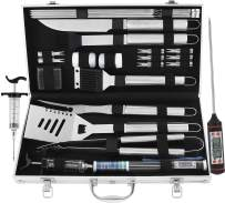 grilljoy 24PCS BBQ Grill Tools Set with Meat Thermometer and Injector - Extra Thick Stainless Steel Spatula, Fork& Tongs - Complete BBQ Accessories in Aluminum Case - Perfect Grilling Tool Set Gift