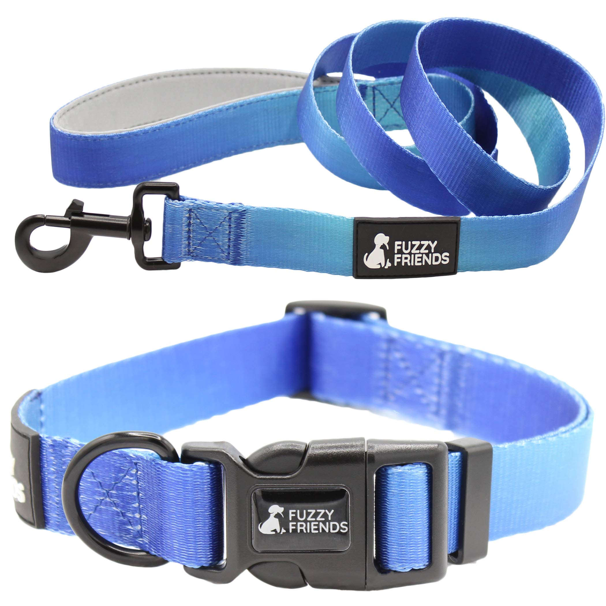 Blue Sea Ombre Dog Collar with Optional Matching Leash Set. Perfect Designer Set for Girl Dogs or boy Dogs. Great for Easter or Spring and Summer