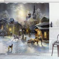 """Ambesonne Country Shower Curtain, Winter Landscape of a Western Town at Night in New World Rurals in Retro Style Art, Cloth Fabric Bathroom Decor Set with Hooks, 70"""" Long, Gray Yellow"""