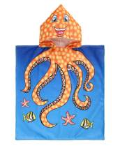 """Mulfei Kids Cartoon Hooded Beach Bath Towel for Age 1-7 Years - Bath Pool Swim Poncho Cover-ups Cape, Ultra Breathable and Soft for All Seasons, 24"""" x 48"""" (Octopus)"""