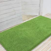 LINLA Premium Large Durable Chenille Doormat, Absorbent Fast Dry, Easy Clean, Non-Slip Mud Dirt Trapper Rug Mat for Entrance, Back Door, Porch, High Traffic Areas 31x59 Inches Green