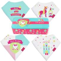 Bandana Bibs for Girls, Drooling Absorbent and Teething, Pack of 4 Bib Set with Tin Gift Box