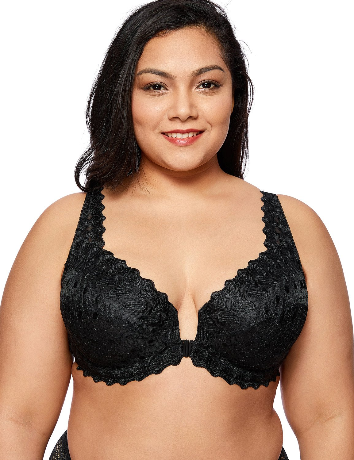 DELIMIRA Women's Plus Size Support Unlined Embroidered Lace Front Close Underwired Bra