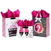 """Hallmark Gift Bags Assortment with Tissue Paper - Pink and Black Cupcake, Shoes, Flamingo (Pack of 3: 2 Large 13"""" and 1 Medium 7"""" Gift Bags) for Birthdays, Mother's Day, Baby Showers, Bridal Showers"""