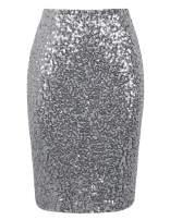 PrettyGuide Women's Sequin Skirt High Waist Sparkle Pencil Skirt Party Cocktail