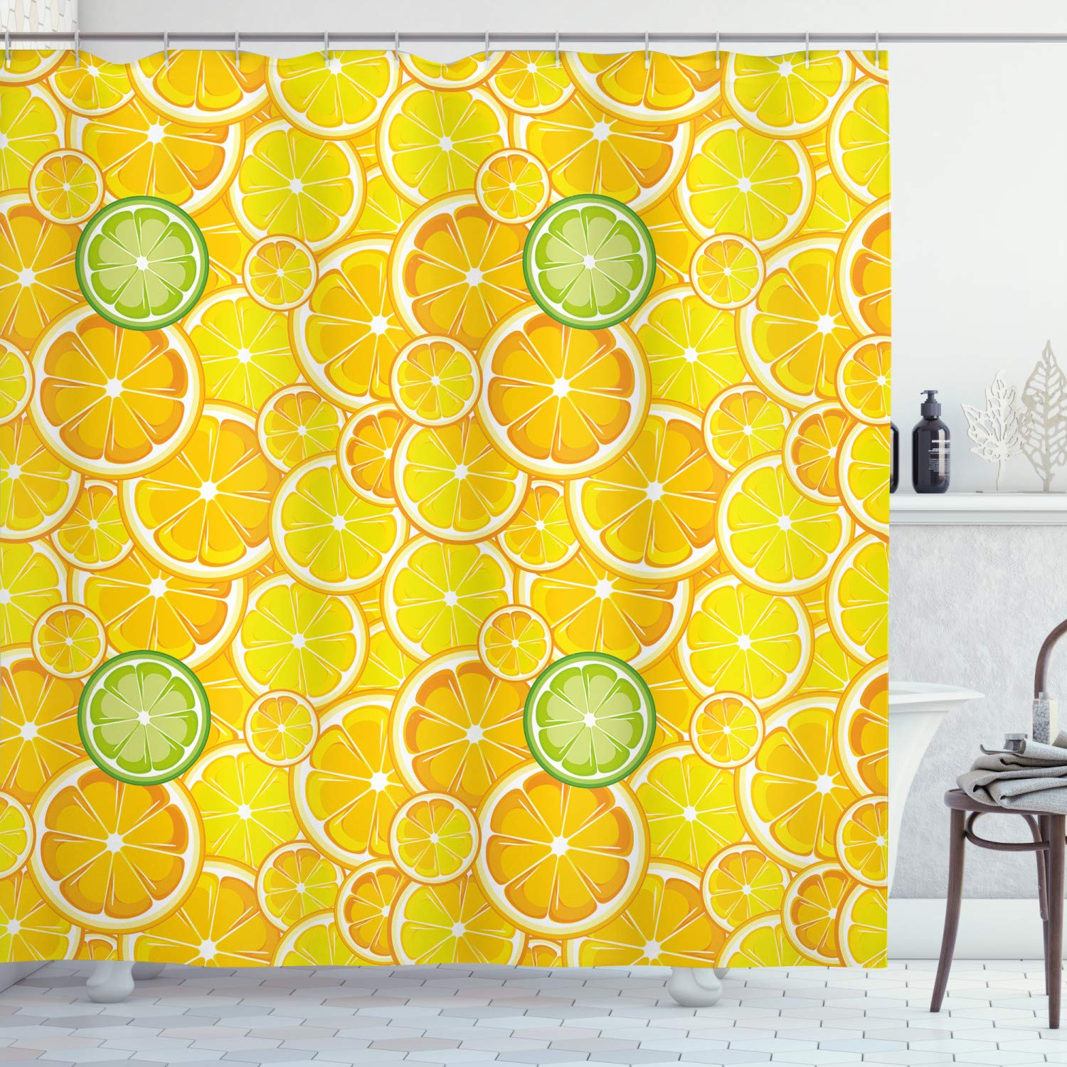 """Ambesonne Yellow Shower Curtain, Lemon Orange Lime Fruit Citrus Round Cut Circles Big and Small Pattern, Cloth Fabric Bathroom Decor Set with Hooks, 75"""" Long, Yellow White"""