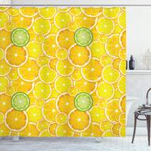 "Ambesonne Yellow Shower Curtain, Lemon Orange Lime Fruit Citrus Round Cut Circles Big and Small Pattern, Cloth Fabric Bathroom Decor Set with Hooks, 75"" Long, Yellow White"