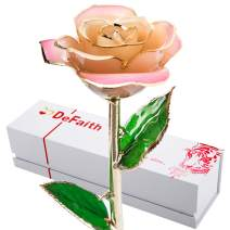 DEFAITH 24K Gold Dipped Real Rose Gifts, Best Wedding Anniversary Valentines Day Love Gift for Her Wife Girlfriend Spouse, Pink White with Stand