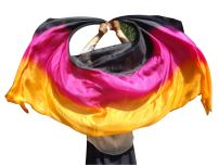 Winged Sirenny 3-Color Belly Dance Silk Veil, Light 5 Mommes Real Silk, 2.7m x 1.1m (3 yd x 43 in), Hand Rolled Edges