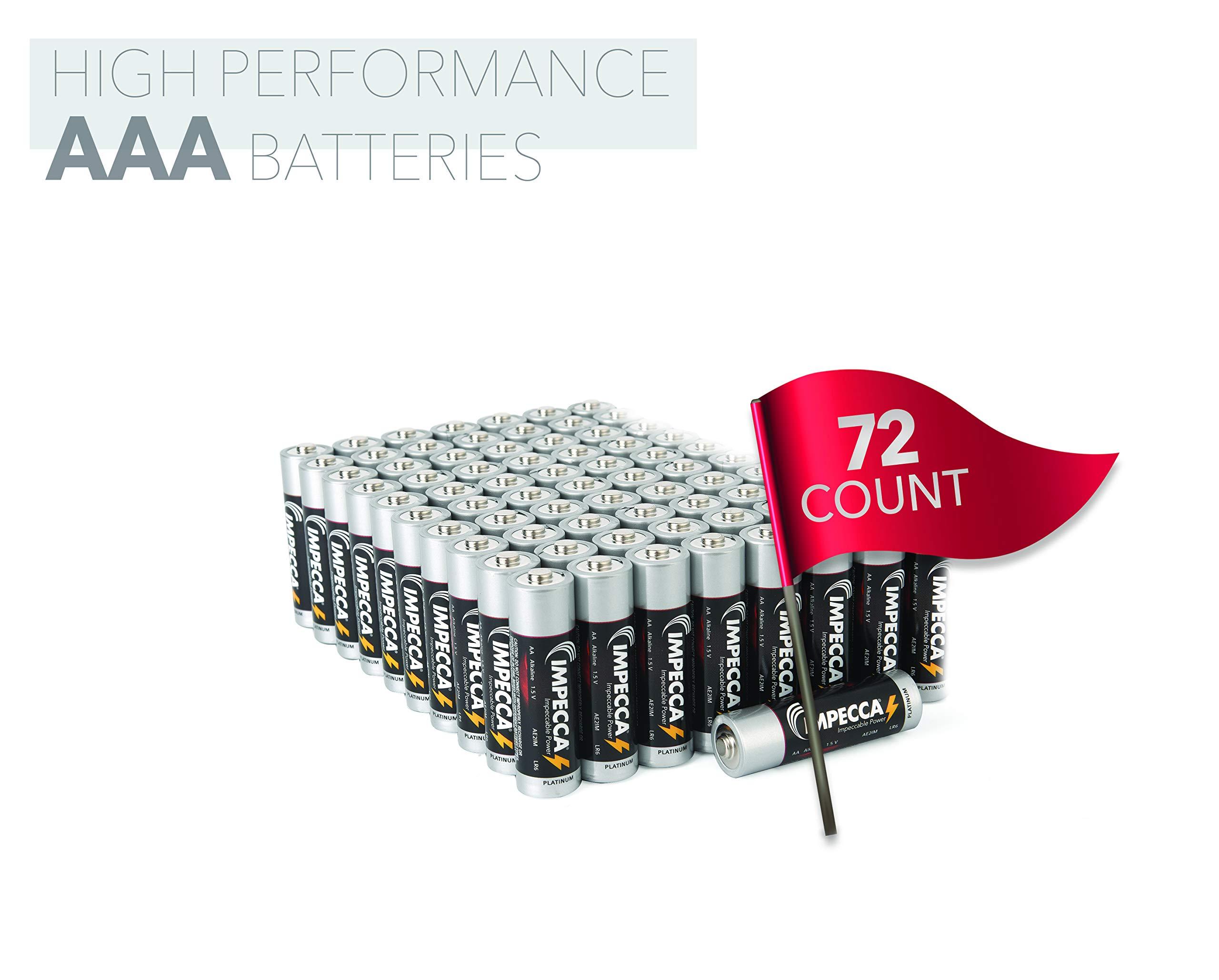 IMPECCA AAA Batteries (72 Pack) High Performance 1.5 Volt, All Purpose AAA Alkaline Battery, Non Rechargeable, LR3 72-Count