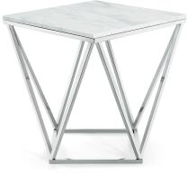 """Meridian Furniture Collection Skyler Chrome Stainless Steel End Table with Stone Top, 20"""" L x 20"""" D x 22"""" H,"""