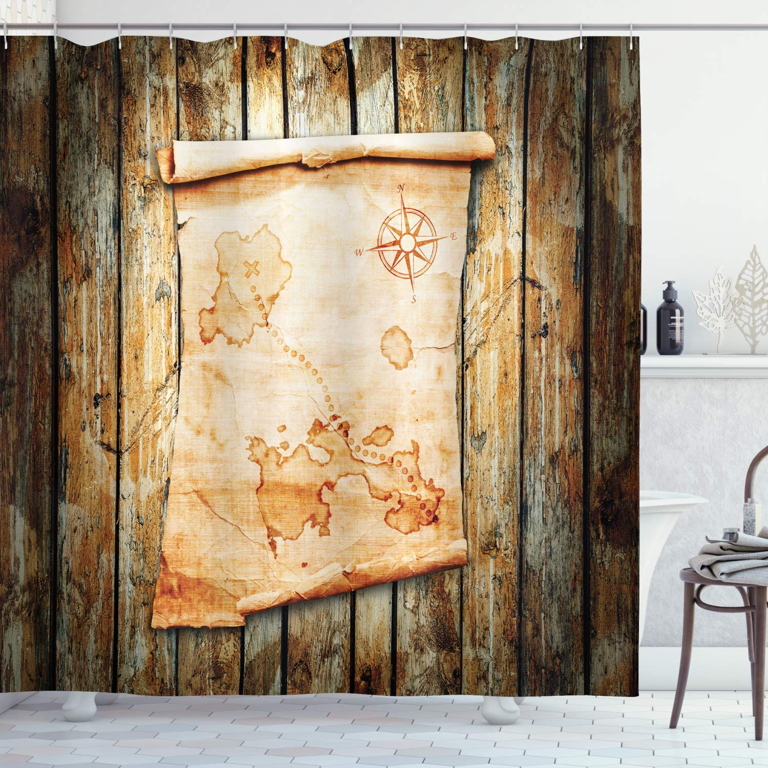 """Ambesonne Island Map Shower Curtain, Treasure Map on Rustic Timber X Marks The Grunge Spot Nautical Pirates Concept, Cloth Fabric Bathroom Decor Set with Hooks, 70"""" Long, Cream Brown"""