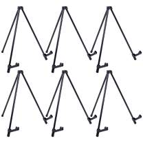 """U.S. Art Supply 14"""" High Exhibitor Black Steel Tabletop Instant Display Easel (Pack of 6 Easels) - Small Portable Tripod Stand, Adjustable Holders - Display Paintings, Pictures, Signs, Holds 5 lbs"""