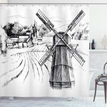 """Ambesonne Landscape Shower Curtain, Hand Drawn Rural Scenery Small Town Farm Houses Forest and Mill Romantic Sketch, Cloth Fabric Bathroom Decor Set with Hooks, 70"""" Long, White Black"""