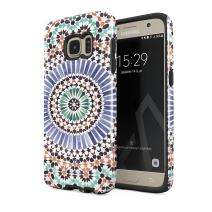 BURGA Phone Case Compatible with Samsung Galaxy S7 - Pastel Illusion Moroccan Marrakesh Tile Pattern Colorful Mosaic Heavy Duty Shockproof Dual Layer Hard Shell + Silicone Protective Cover