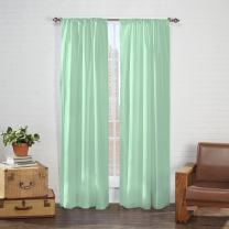 "PAIRS TO GO Cadenza 84"" x 80"" Rod Pocket Double Panel Privacy Window Treatment Living Room, Mint"