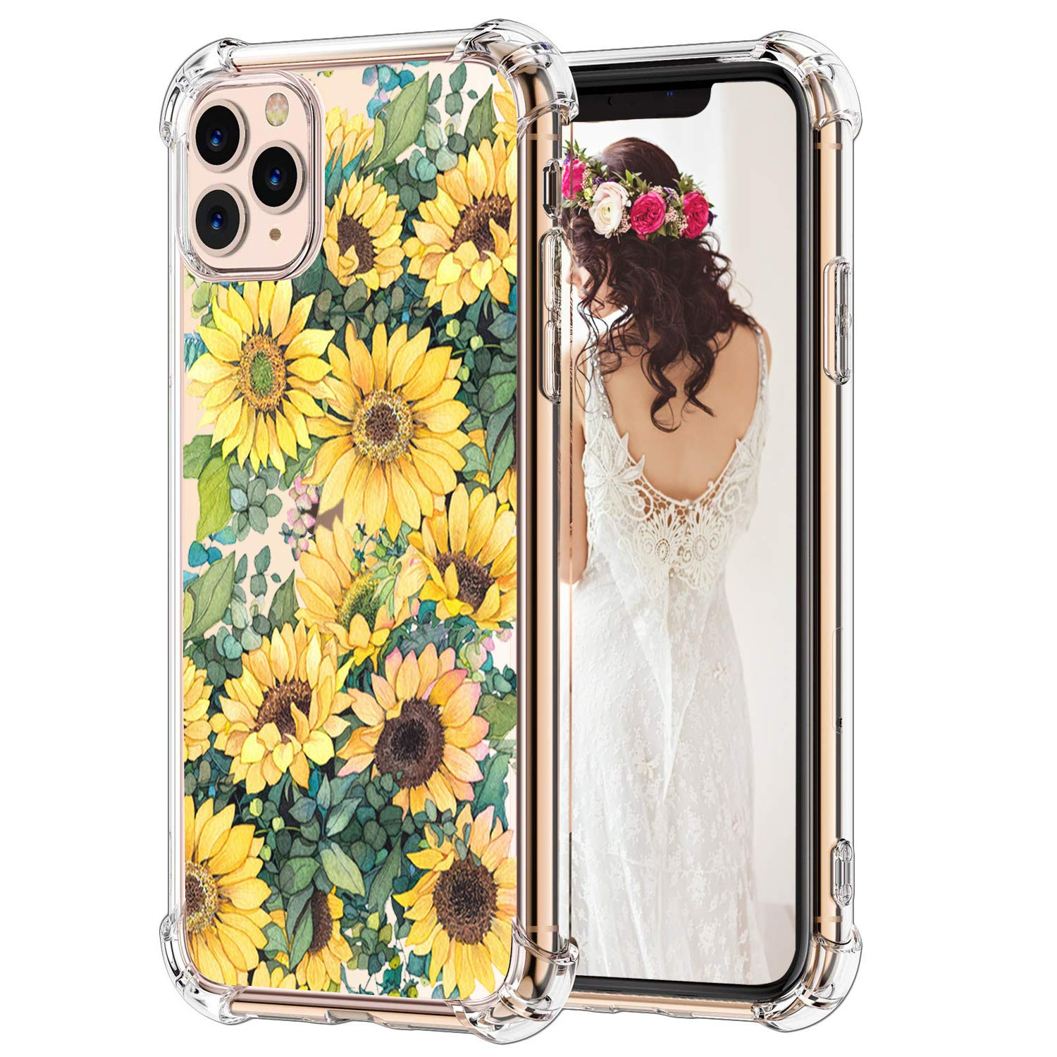 Hepix Sunflowers iPhone 11 Pro Max Case Floral Clear Pro Max iPhone Cases, Vivid Yellow Flowers Pattern Soft Flexible TPU Frame with Protective Bumpers Anti-Scratch Shock Absorbing for iPhone Pro Max