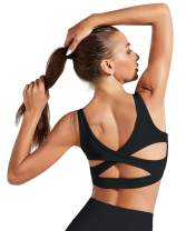 Women Running Sports Bra Padded Mesh Strappy Workout Yoga Top with Removable Cups