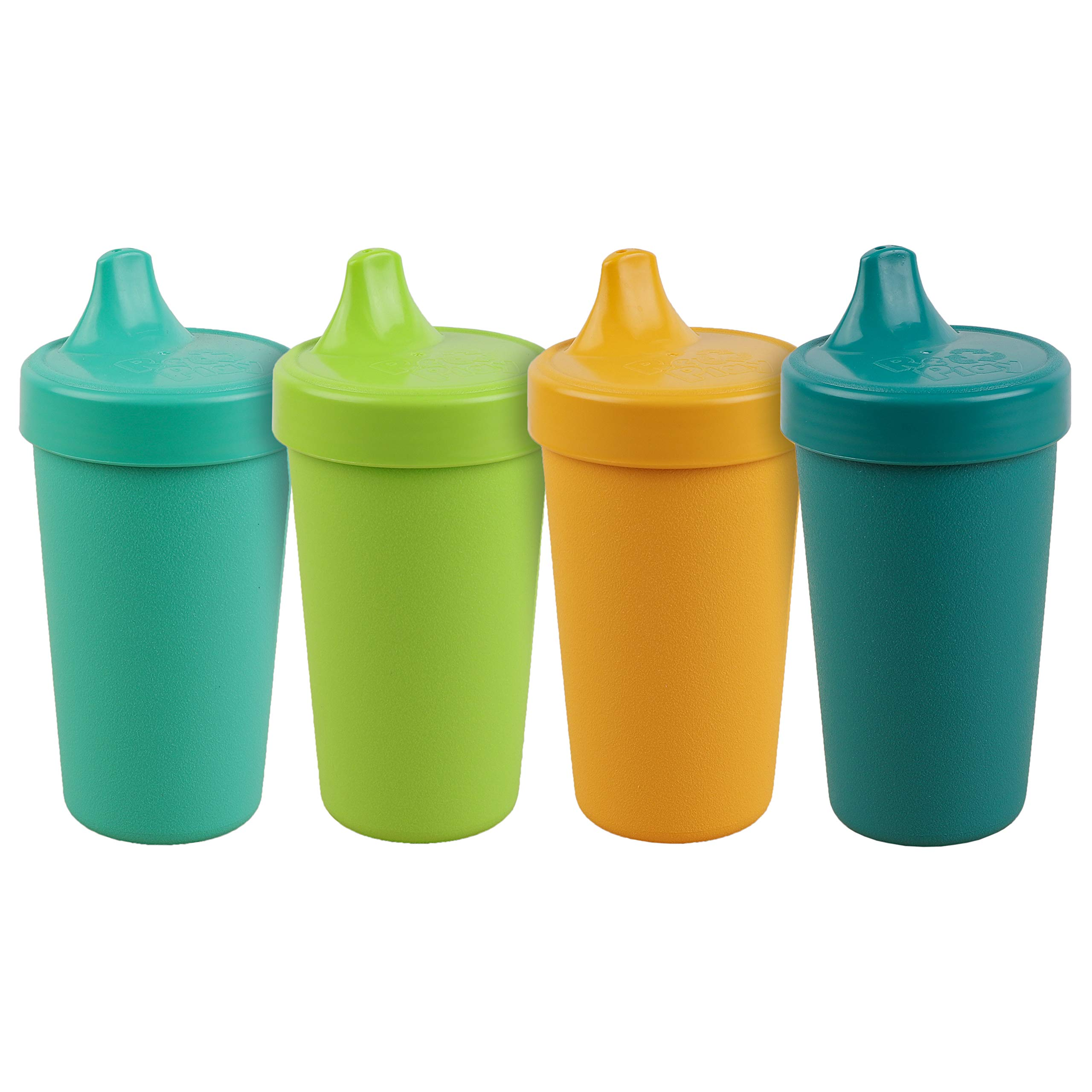 Re-Play Made in The USA 4pk No Spill Cups for Baby, Toddler, and Child Feeding in Aqua, Lime Green, Sunny Yellow and Teal | Made from Eco Friendly Heavyweight Recycled Milk Jugs | (Aqua Asst.+)