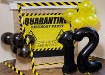 "Quarantine Birthday Decorations I 3ft x 4ft Quarantine Birthday Banner with Holes for Hanging I 40"" Black Foil Number Balloons 1 & 2 I 12 Black and Yellow 12"" Latex Balloons I Caution Tape - Party Supplies"