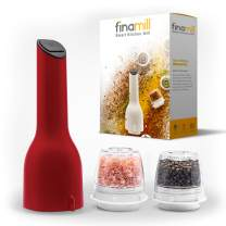 FinaMill Electric Grinder – Grind Pepper, Salt and More. Store Each Dried Spice In Separate Interchangeable Pod, Swap With One Hand. Uses 3 AA Batteries, NOT Included. 1 Mill 2 Pods Included - Red