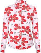 DOKKIA Women's Tops Vintage Casual Shirts Cotton Long Sleeve Work Button Up Dress Blouses (Flamingo Hibiscus Pink Red, Small)