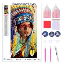 ANMUXI 5D Diamond Painting Kits Full Square Drills Native American Indian Woman White Headband Portraits Diamond Art 30X60CM