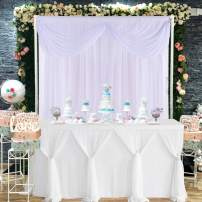 White Tulle Table Skirt Tutu Table Cloth for Baby Shower Wedding Birthday Parties Table Skirting 14ft