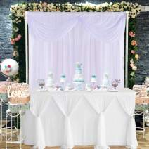 Besutolife White Tulle Table Skirt Tutu Table Skirts for Baby Shower Wedding Birthday Parties 6ft