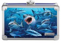 "Vaultz Locking Supplies & Pencil Box with Key Lock, 5""x 2.5""x 8.5"", Embossed Sharks (VZ03601)"