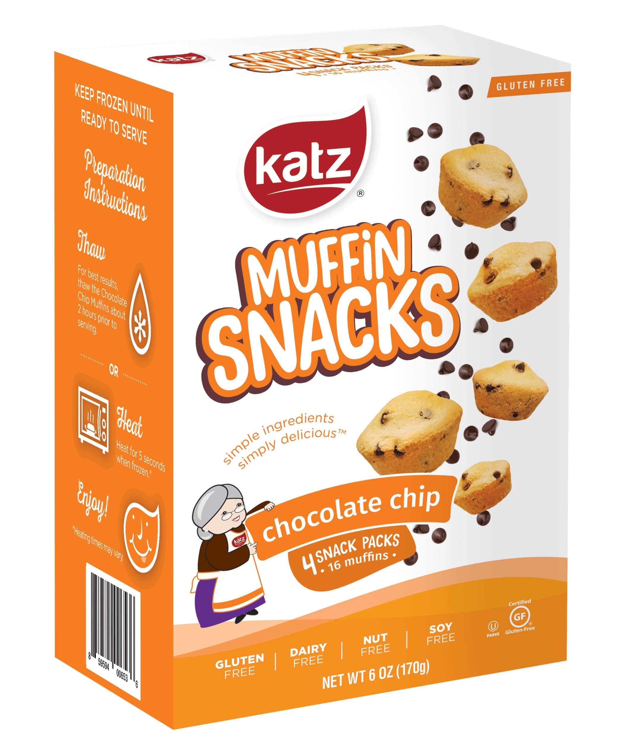 Katz Gluten Free Chocolate Chip Muffin Snacks   Dairy Free, Nut Free, Soy Free, Gluten Free   Kosher (6 Packs, 6 Ounce Each)