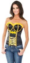 Secret Wishes DC Comics Justice League Superhero Style Adult Corset Top with Logo Batgirl, Black, Small