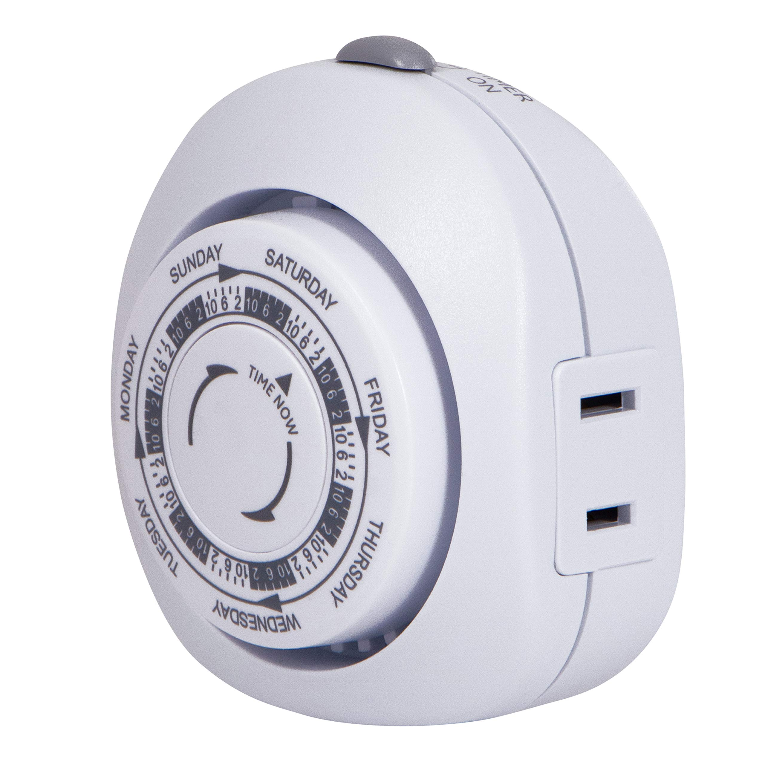 GE 7-Day Vacation Indoor Plug-In Mechanical Timer, 1 Polarized Outlet, Pre-Programmed On/Off Times for Home Security, Ideal for Lamps, Seasonal Lighting, Small Appliances, 15151,Vacation 1-Outlet | Gray/White