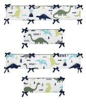 Crib Bumper Pad for Blue and Green Modern Dinosaur Collection Baby Boy or Girl Bedding