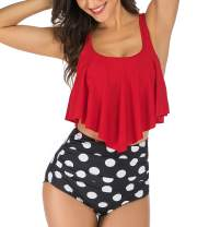 Women High Waisted Bikini Swimsuits Two Piece Bathing Suits Ruffle Tankini Tummy Control Swimwear Tankini