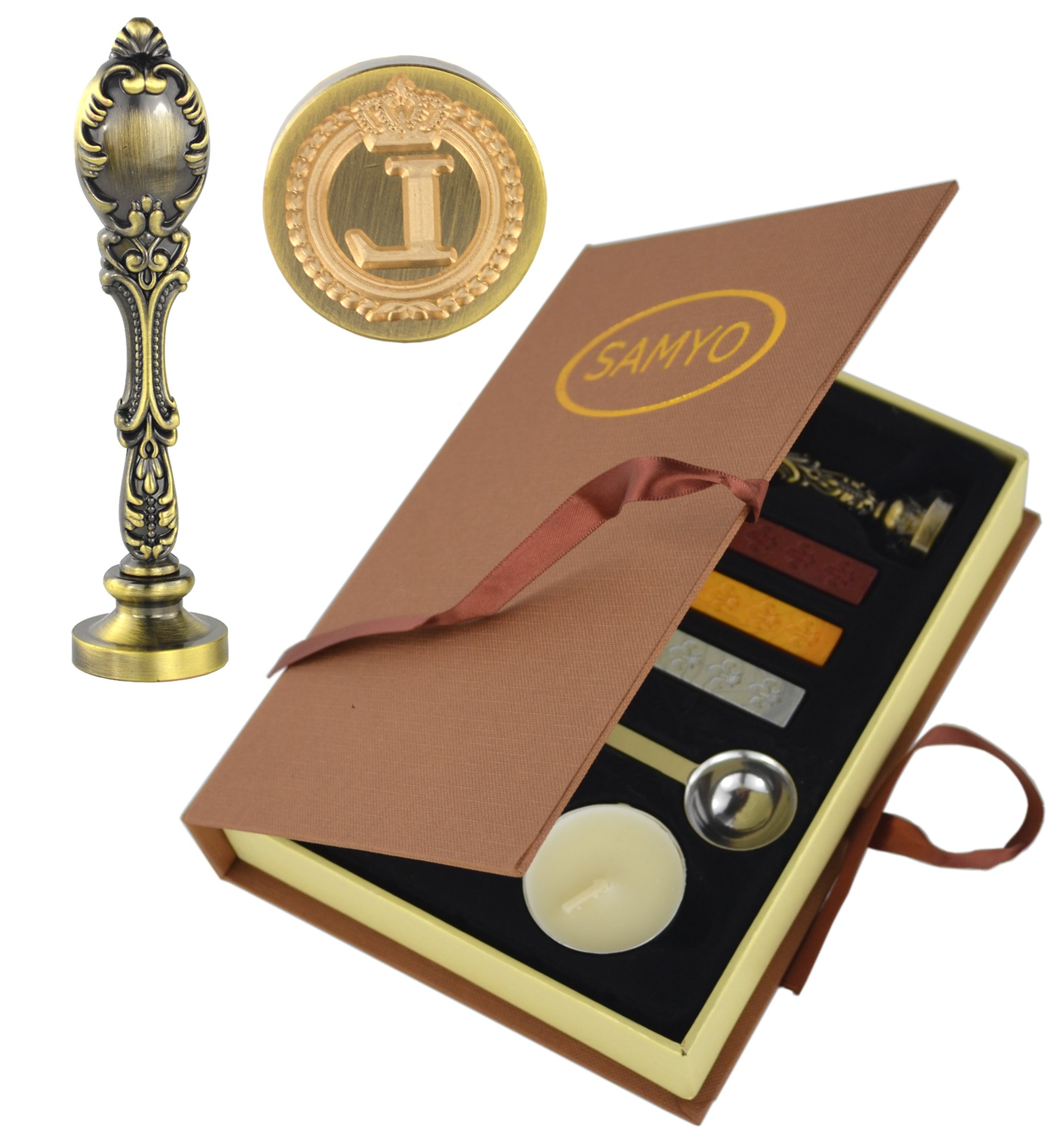 Samyo Creative Romantic Stamp Maker Classic Old-Fashioned Style Brass Color Wax Seal Sealing Stamp Vintage Antique Alphabet Initial Letter Set - (Letter L)