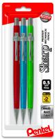 Pentel Sharp Mechanical Pencil, (0.5mm), Metallic Barrels, Assorted Colors (B/C/D), 3-Pk (P205MBP3M1)
