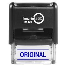 "Supply360 AS-IMP1129B - Original w/Upper and Lower Bars, Blue Ink, Heavy Duty Commerical Self-Inking Rubber Stamp, 9/16"" x 1-1/2"" Impression"