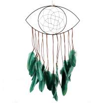HOCHIZE Eye Pattern Dream Catcher Mesh Wall Hanging Decoration,Green Feather Handmade Dreamcatcher,Wall Hanging Ornament Gift for Bedroom