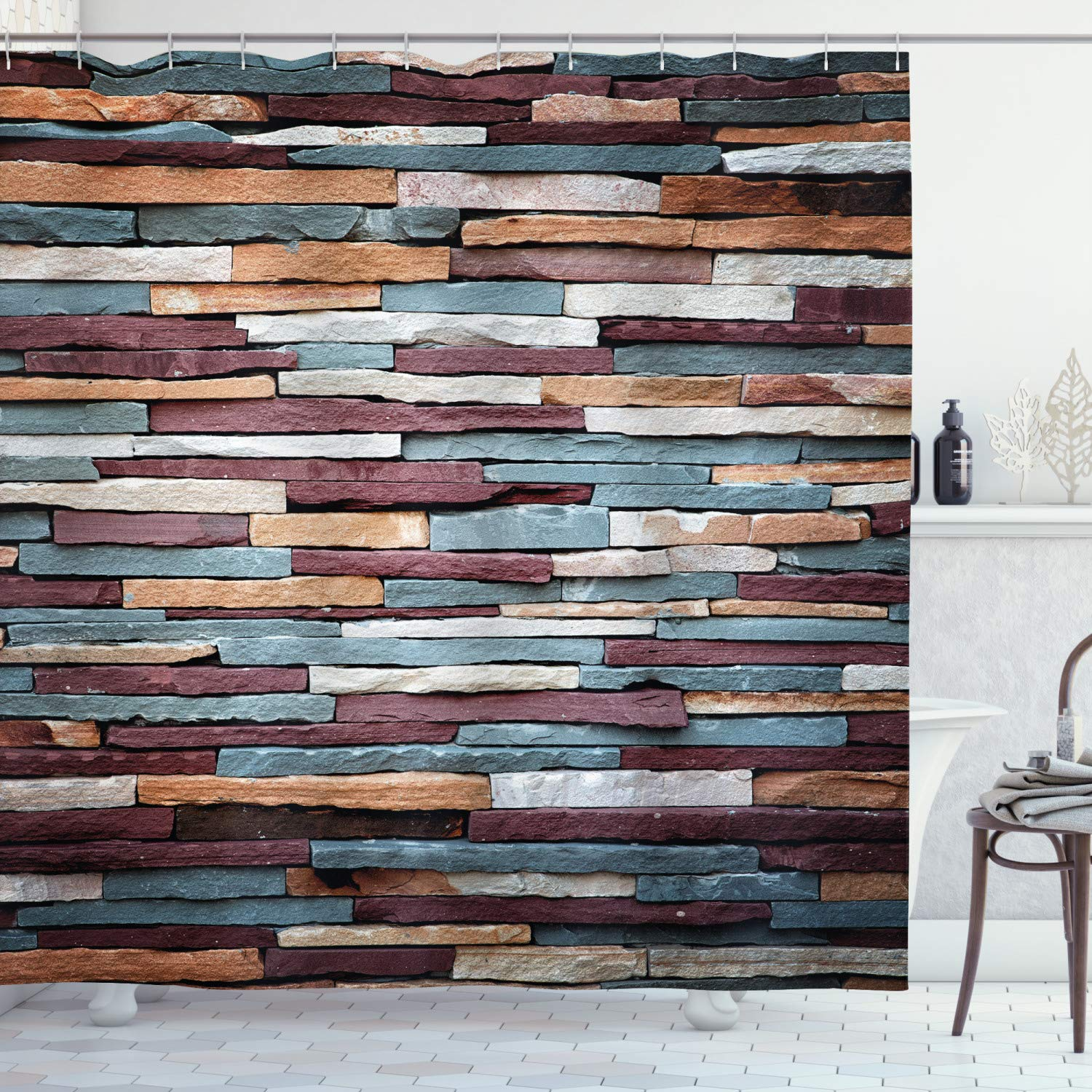 """Ambesonne Urban Shower Curtain, Colored Stone Surface Texture Background Retro Style Urban Brick Wall Image, Cloth Fabric Bathroom Decor Set with Hooks, 75"""" Long, Mauve Teal"""