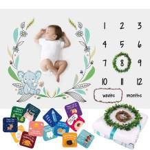 Baby Monthly Milestone Blanket For Boys Girls – Soft Fluffy Unisex Design – 60 x 40 in – 1 to 12 with Weeks and Months – Includes Wreath and String Markers, 18 Baby Occasions Cards and an e-book