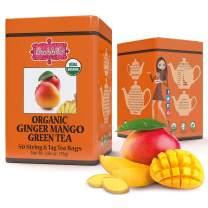 Brew La La Organic Green Tea - Ginger Mango Flavor - 50 Tea Bag Tin - Low Caffeine Tea - USDA Certified Organic