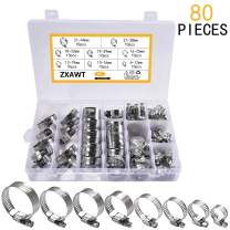 ZXAWT Hose Clamps Assortment 100% 304 Stainless Steel Adjustable Worm Gear Hose Clamps,Fuel Line Clamp for Plumbing Automotive,household hose clamp(6-44mm Range)