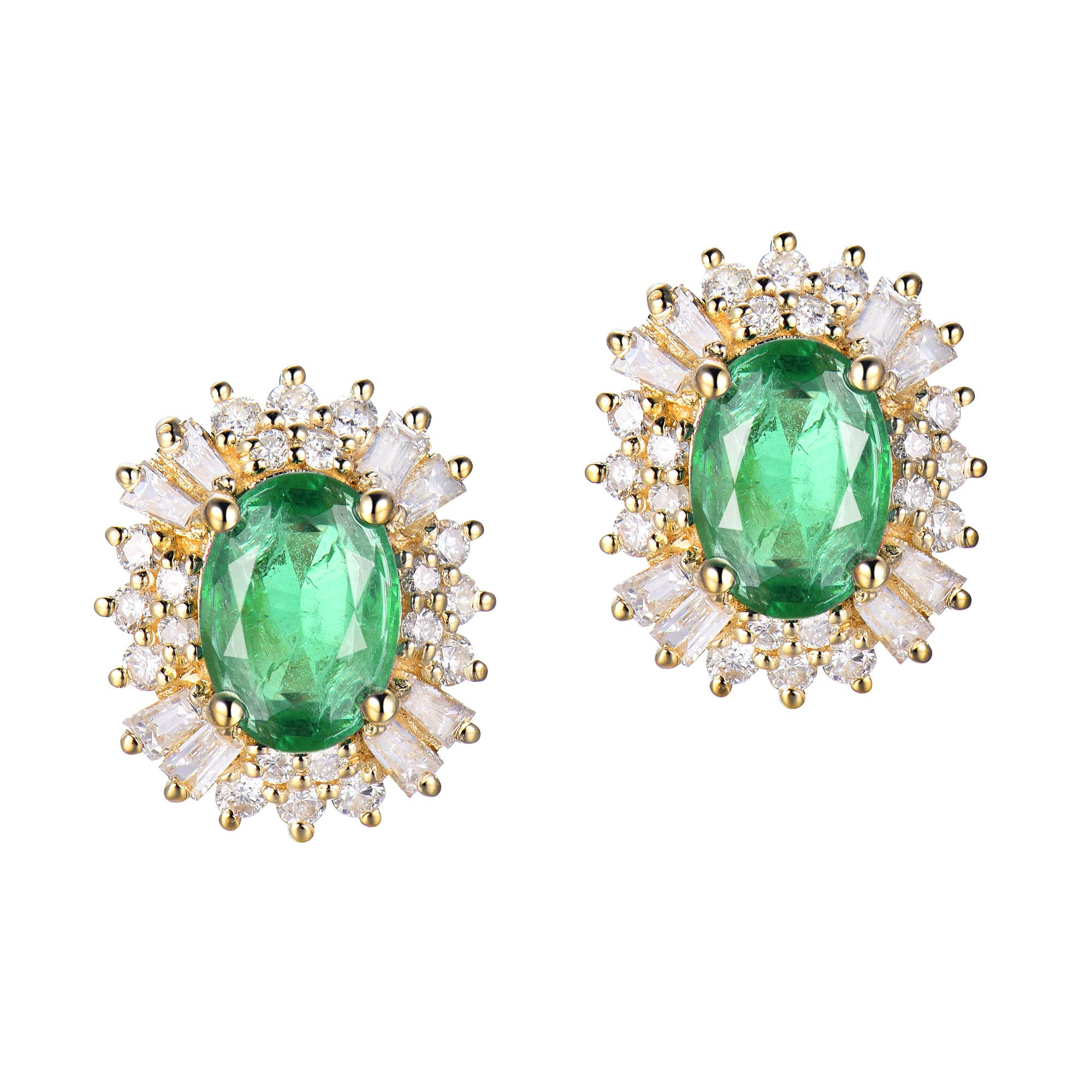 Lanmi 14K Rose Yellow Gold Natural Emerald Earrings Studs with Diamonds for Women