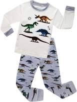 MOGGEI Boys Pajamas Clothes Sleepwear 100% Cotton PJS for Toddlers Kids Children Dinosaur Style