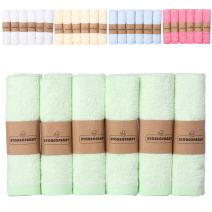 "Storeofbaby Baby Washcloths Organic Bamb Towels Set Eco Friendly 100% Natural Organic Wipes Green Pack of 6 10""x10"""