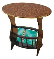 Uniquewise(TM) Oval Side Table with Magazine Holder, Espresso Brown Finish