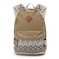 OURBAG Women Travel Canvas Dots Backpack Rucksack Shoulder Book Bag Satchel Khaki